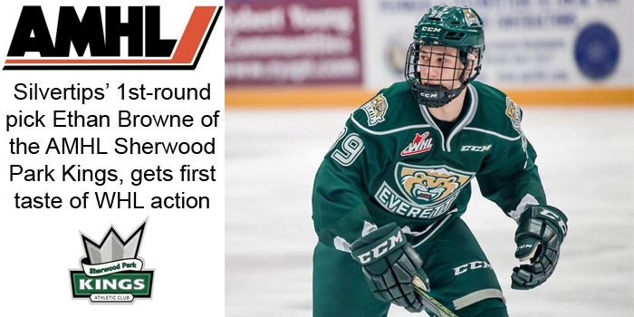 AMHL: Sherwood Park Kings Ethan Browne Gets First Taste Of WHL Action
